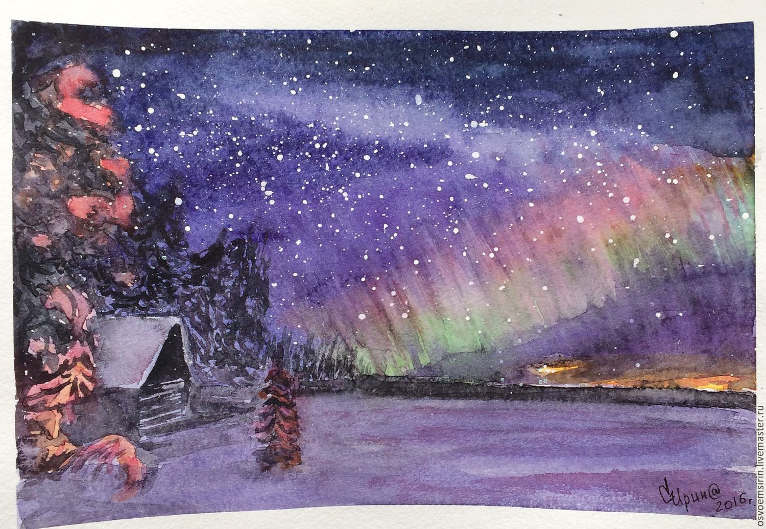 Northern lights, watercolor, Pictures, Novosibirsk,  Фото №1