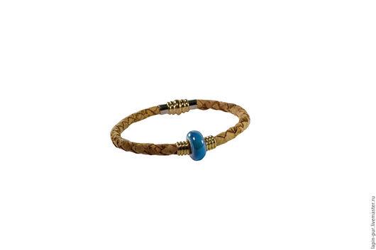 Браслеты ручной работы. Ярмарка Мастеров - ручная работа. Купить Пробковый браслет с голубой керамической бусиной. Handmade. Серебряный, браслет