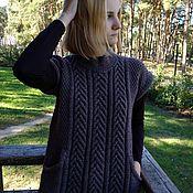 Одежда handmade. Livemaster - original item Ladies knitted cardigan (vest tank top) brown. Handmade.