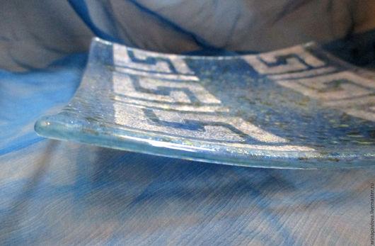 Тарелки ручной работы. Ярмарка Мастеров - ручная работа. Купить Квадратная тарелка из стекла Хамелеон. Фьюзинг. Handmade. Синий, посуда