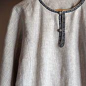 Рубаха льняная вседневная с тканой тесьмой