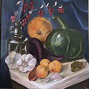 Элементы интерьера ручной работы. Ярмарка Мастеров - ручная работа Картина маслом желтая синяя зеленая фиолетовая кори. Handmade.
