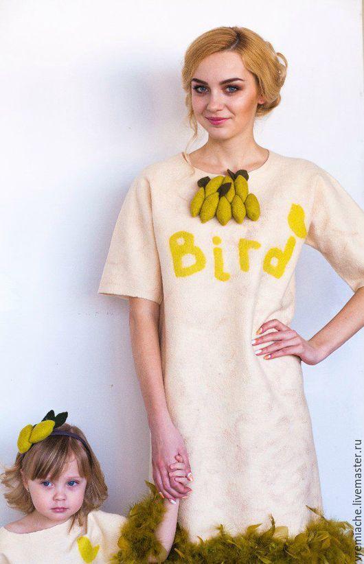 """Платья ручной работы. Ярмарка Мастеров - ручная работа. Купить Платье из войлока """"Bird"""". Handmade. Бежевый, Валяние, платье с перьями"""