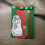 Открытки ручной работы. Ярмарка Мастеров - ручная работа Новогодняя открытка со снеговиков. Handmade.