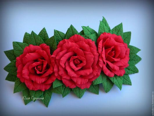 Заколки ручной работы. Ярмарка Мастеров - ручная работа. Купить Заколка - автомат с красными розами. из фоамирана. Handmade. Ярко-красный