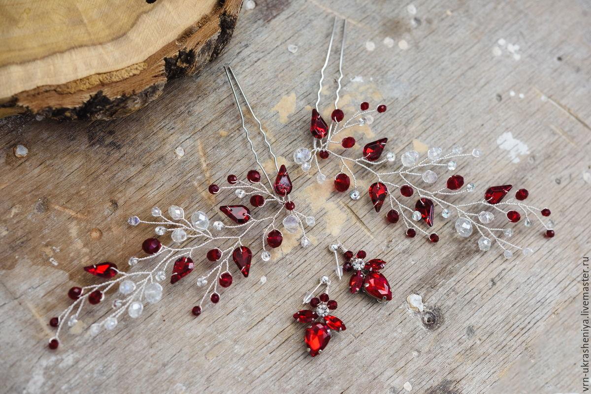 Свадебные украшения ручной работы. Ярмарка Мастеров - ручная работа. Купить Две веточки-шпильки в цвете марсала. Handmade. Красный