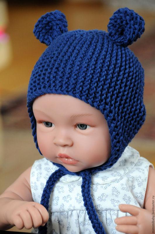 """Для новорожденных, ручной работы. Ярмарка Мастеров - ручная работа. Купить Шапчка для малыша """"Синий медвежонок"""". Handmade. Тёмно-синий"""