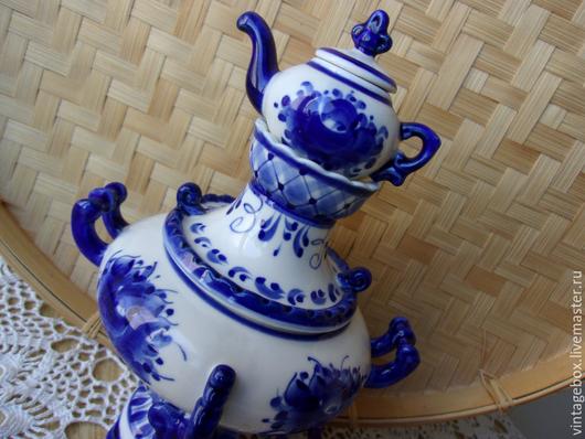 """Винтажная посуда. Ярмарка Мастеров - ручная работа. Купить Самовар сувенирный """"Гжель"""". Ручная работа. Handmade. Гжель, посуда из керамики"""