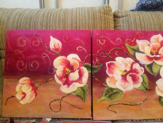 Картины цветов ручной работы. Ярмарка Мастеров - ручная работа. Купить Триптих -цветы страсти. Handmade. Цветы триптих бордо