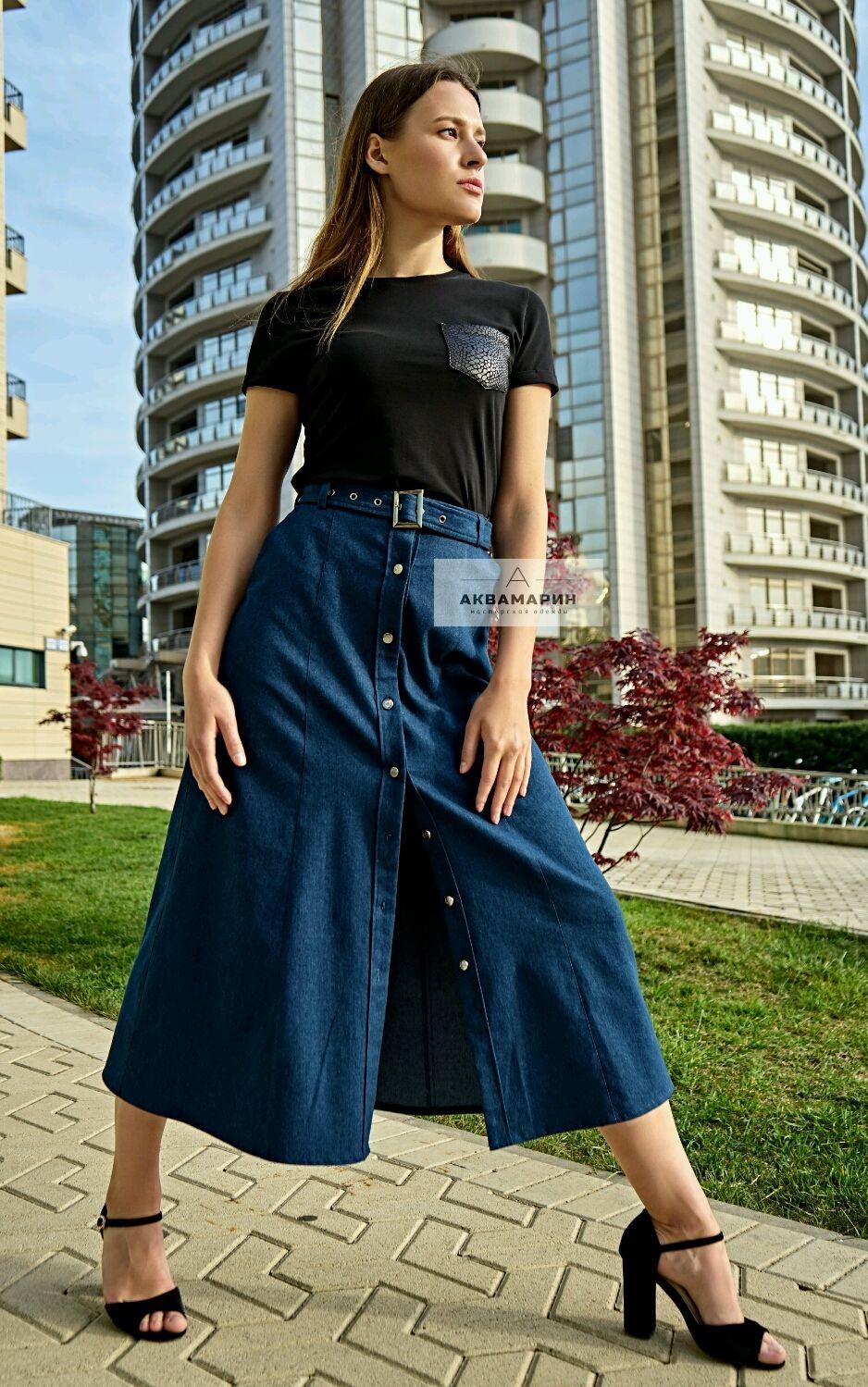 0b0d564bca9 Интернет Юбки ручной работы. Заказать Юбка на пуговицах джинсовая.   Аквамарин  дизайнерская одежда.