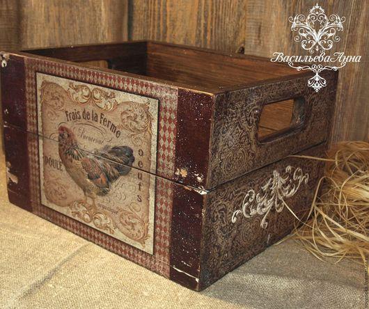 """Корзины, коробы ручной работы. Ярмарка Мастеров - ручная работа. Купить Ящик  """"Сountry"""". Handmade. Винтажный стиль, ящик, петух"""