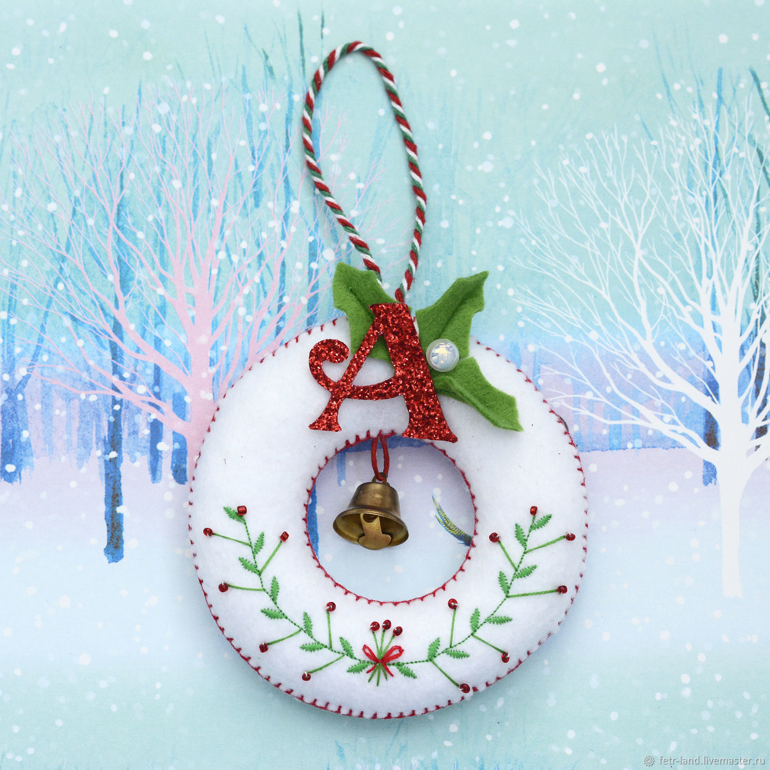 Personalized Christmas toys made of felt ' mitten, wreath', Christmas decorations, Belgorod,  Фото №1