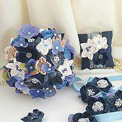 Свадебный салон ручной работы. Ярмарка Мастеров - ручная работа Джинсовый свадебный букет с  синей гортензией. Handmade.