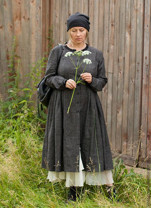 Верхняя одежда ручной работы. Ярмарка Мастеров - ручная работа. Купить Платье-кафтан из серого льна art.144a (начало). Handmade.