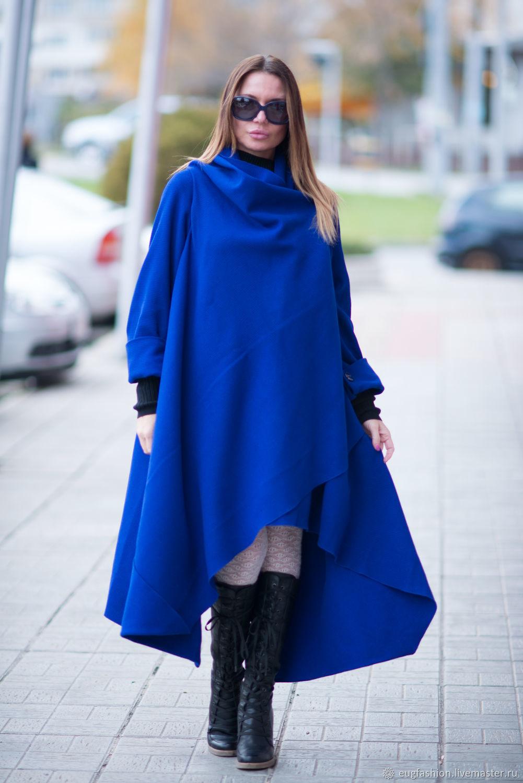 Верхняя одежда ручной работы. Ярмарка Мастеров - ручная работа. Купить Кашемировое пальто, королевского синего цвет - CT0001CA. Handmade.