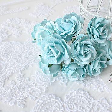 Цветы и флористика ручной работы. Ярмарка Мастеров - ручная работа Бумажные розы Бирюзовые 4 см Бумажные розы для скрапбукинга. Handmade.