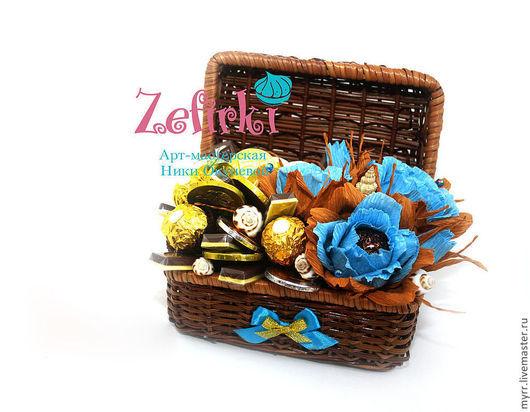 Подарки для мужчин, ручной работы. Ярмарка Мастеров - ручная работа. Купить Сундучок с конфетами в морском стиле подарок мужчине подарок мальчику. Handmade.