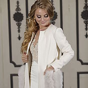 Свадебный салон handmade. Livemaster - original item Bridal jacket, Wedding coat, Winter wedding coat, Jasmin White. Handmade.