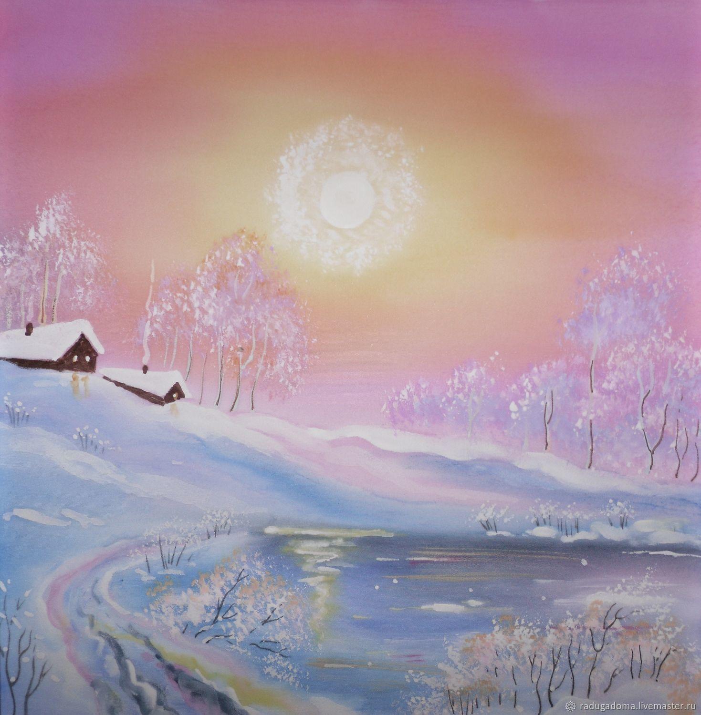 Пейзаж ручной работы. Ярмарка Мастеров - ручная работа. Купить Картина. Морозное утро. Handmade. Зима, белый, голубой, картина