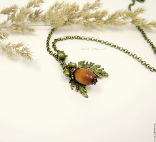 Кулон на цепочке, лесной орех, природный стиль, украшения из природных материалов, кулон с деревом, украшение на каждый день, Ярмарка Мастеров