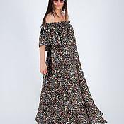 Одежда handmade. Livemaster - original item Long, summer cotton dress with floral pattern / DR0943CV. Handmade.