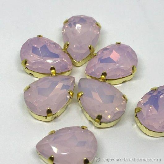 Кристаллы капли премиум, розовый опал в золоте, 10х14 мм, Бусины, Санкт-Петербург, Фото №1