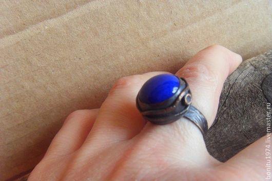 """Кольца ручной работы. Ярмарка Мастеров - ручная работа. Купить Кольцо """"Синий глаз"""". Handmade. Тёмно-синий, синий, медь"""