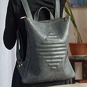 Сумки и аксессуары handmade. Livemaster - original item Backpack leather stylish gray Grey Concept. Handmade.