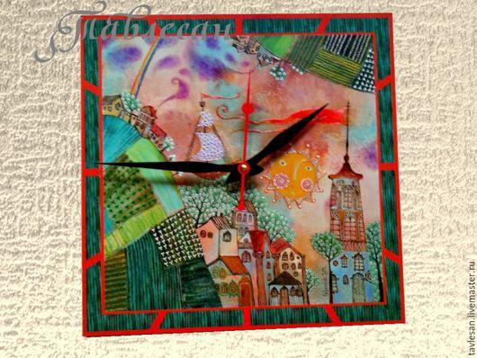 """Часы для дома ручной работы. Ярмарка Мастеров - ручная работа. Купить Часы настенные """"Солнце, башня, алый стяг. Тик-так, тик-так"""". Handmade."""