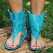 Обувь ручной работы handmade. Livemaster - original item sandals high from the turquoise textured leather. Handmade.
