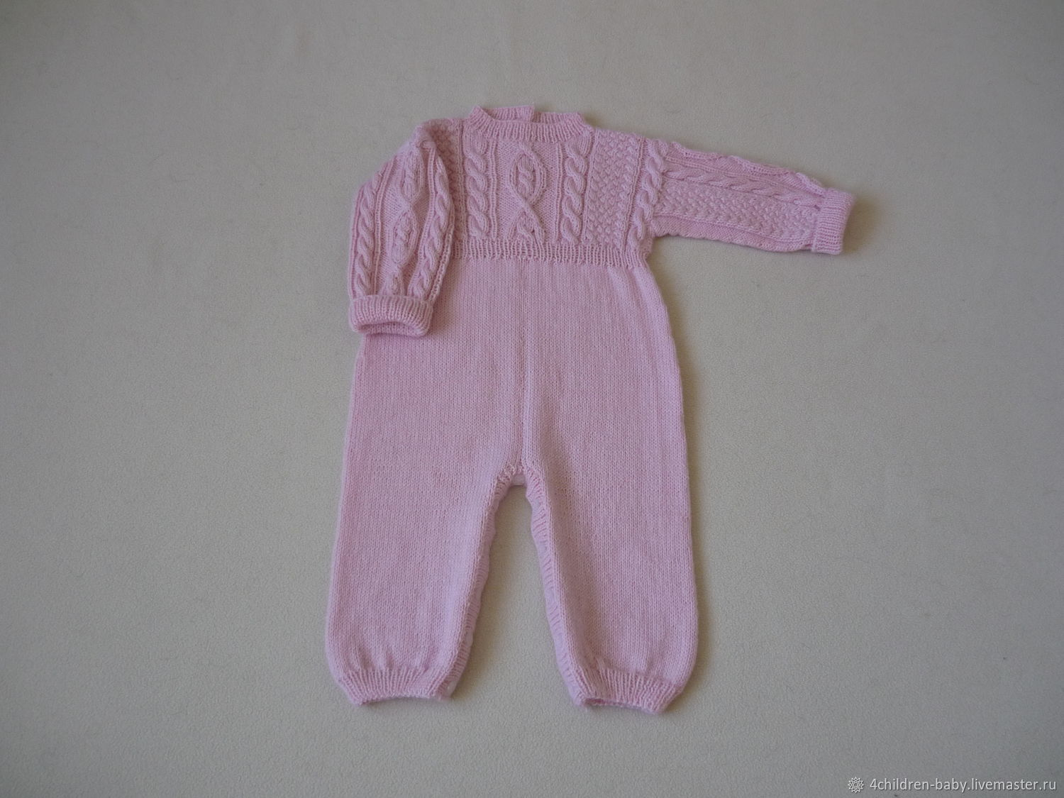 Knitted soft pink romper with a pattern of braids, Overall for children, Moscow,  Фото №1