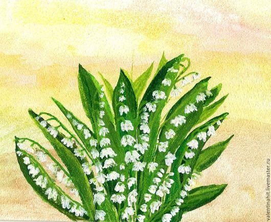 """Картины цветов ручной работы. Ярмарка Мастеров - ручная работа. Купить картина  """"Ландыши душистые"""" (желтый, зеленый). Handmade. Картина"""