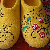 """Обувь ручной работы. Ярмарка Мастеров - ручная работа """"Мотивы Хохломы"""" войлочные тапочки. Handmade."""