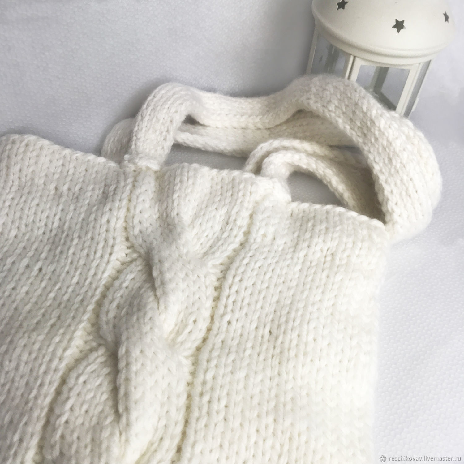 White knitted shopper bag with braid, Shopper, Moscow,  Фото №1