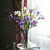 Цветы и флористика ручной работы. Ярмарка Мастеров - ручная работа букет Ирисы в декантере. Handmade.