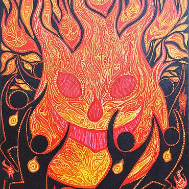 """Картины и панно ручной работы. Ярмарка Мастеров - ручная работа Картина акрилом, """"Дух Огня"""", 25х35 см, холст на картоне. Handmade."""
