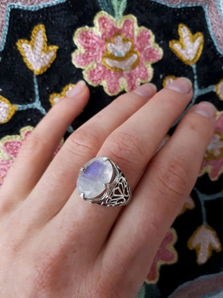 MOONLIGHT SONATA-an exquisite ring with a rainbow moonstone, Rings, Moscow,  Фото №1