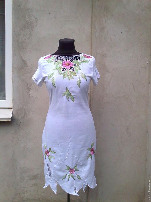 Платья ручной работы. Ярмарка Мастеров - ручная работа. Купить платье белое льняное с вышивкой. Handmade. Белый, платье летнее