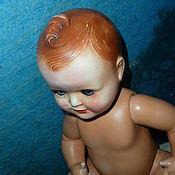 Винтаж ручной работы. Ярмарка Мастеров - ручная работа старинный кукла пупс с хохолком 40см,тортулон(целлулоид). Handmade.