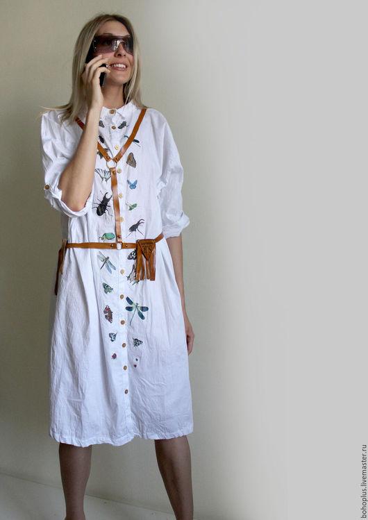 """Платья ручной работы. Ярмарка Мастеров - ручная работа. Купить Платье-рубашка из хлопка """"Жук"""". Handmade. Белый, белая рубашка"""