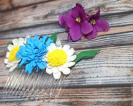 Заколки ручной работы. Ярмарка Мастеров - ручная работа. Купить Гребень для волос с цветами из фоамирана Летний букет. Handmade.