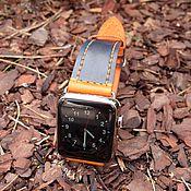 """Украшения ручной работы. Ярмарка Мастеров - ручная работа Ремешок для часов (Apple Watch Leather Band ) """"Солнечный джинс"""". Handmade."""