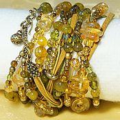 Украшения handmade. Livemaster - original item Boho bracelet-transformer. Honey.Golden.Olive.Wide bracelet. Handmade.