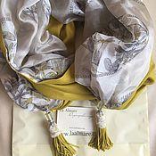 Аксессуары ручной работы. Ярмарка Мастеров - ручная работа Шарф палантин горчичный и стрекозы. Оригинальный подарок.. Handmade.