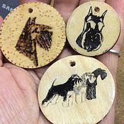 Картины и панно ручной работы. Ярмарка Мастеров - ручная работа Медалька цвергшнауцер из тонкой фанеры. Handmade.