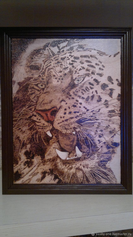 ручной работы. Ярмарка Мастеров - ручная работа. Купить леопард. Handmade. Пирография, животные, интерьер, картина, коричневый, подарок, выжигание