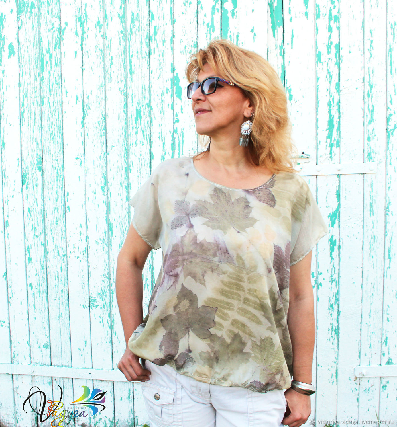 Studio rainbow Victoria, ekoprint, eco style, natural clothing, natural silk, blouse, batik clothing, Studio rainbow, gift girl, gifts for women, exclusive, author's work, buy a blouse,