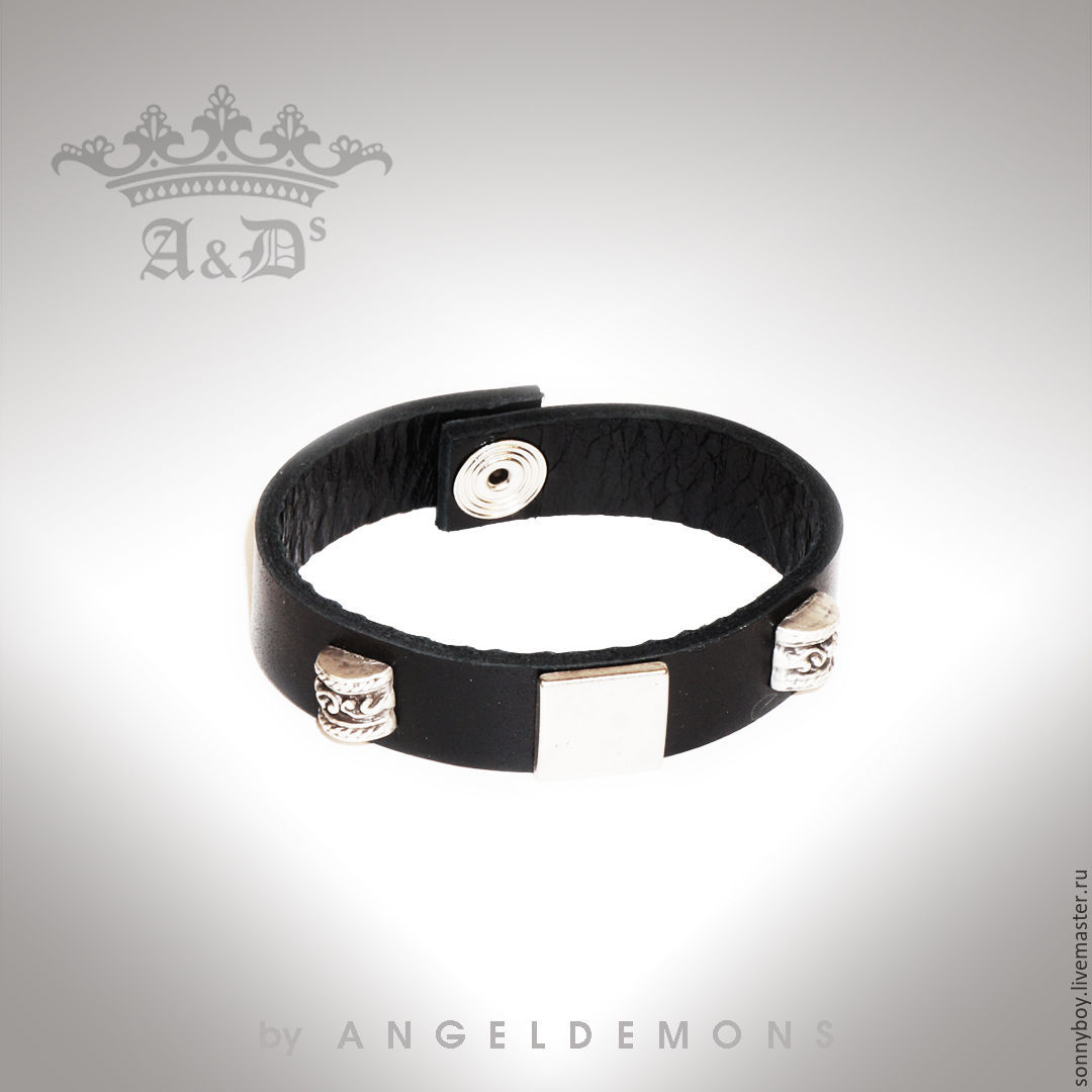 Браслет из кожи - Bracelet Black Silver Cube