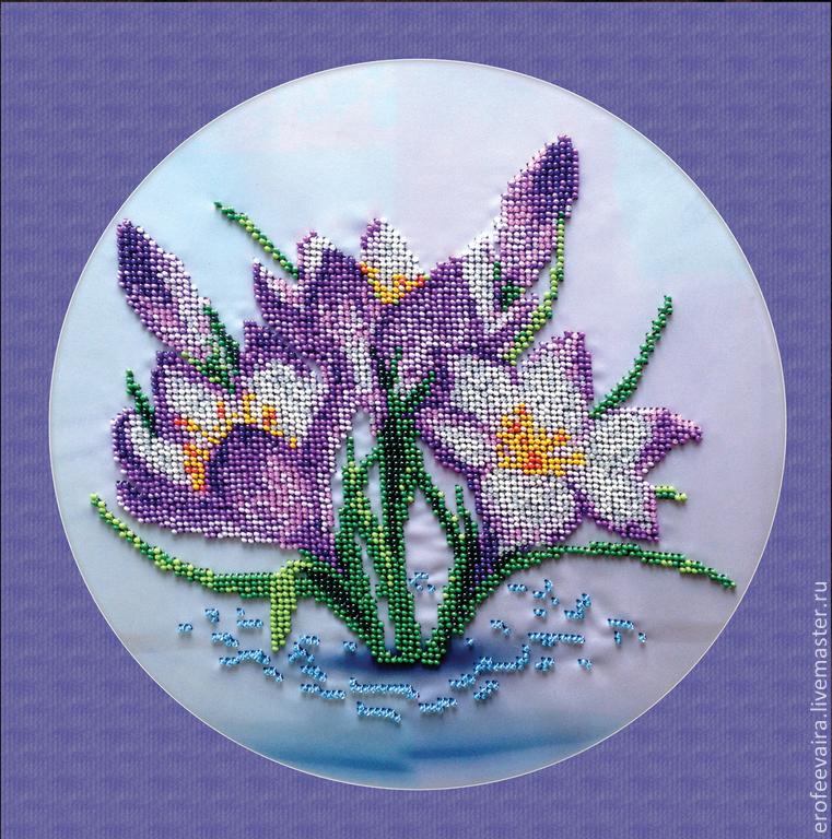 цветы, крокусы, Вышивка
