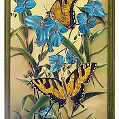 """Картины и панно ручной работы. Ярмарка Мастеров - ручная работа """"Бабочки и цветы"""" картина ручной росписи по ткани. Handmade."""